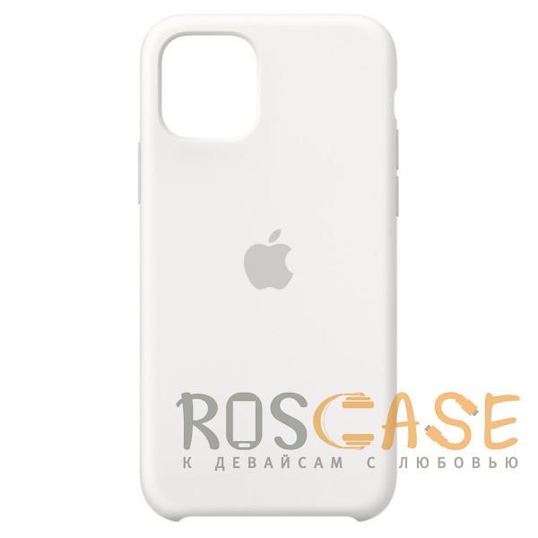 Фото Белый Силиконовый чехол Silicone Case с микрофиброй для iPhone 11 Pro