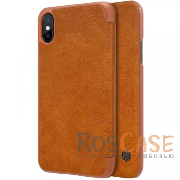 Чехол-книжка из натуральной кожи для Apple iPhone X (5.8) (Коричневый)Описание:бренд&amp;nbsp;Nillkin;разработан для Apple iPhone X (5.8);материалы: натуральная кожа, поликарбонат;защищает гаджет со всех сторон;на аксессуаре не заметны отпечатки пальцев;карман для визиток;предусмотрены все необходимые вырезы;тонкий дизайн не увеличивает габариты девайса;тип: чехол-книжка.<br><br>Тип: Чехол<br>Бренд: Nillkin<br>Материал: Натуральная кожа