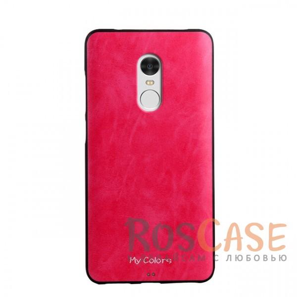 Тонкая накладка из экокожи с гладкой поверхностью на силиконовой основе для Xiaomi Redmi Note 4 MTK (Розовый)<br><br>Тип: Чехол<br>Бренд: Epik<br>Материал: Силикон