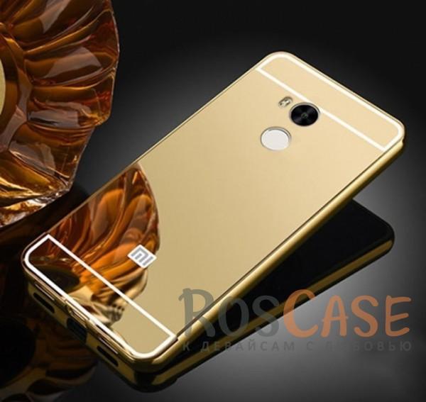 Защитный металлический бампер с зеркальной вставкой для Xiaomi Redmi 4 Pro / 4 Prime (Золотой)Описание:разработан для&amp;nbsp;Xiaomi Redmi 4 Pro / Redmi 4 Prime;материалы - металл, акрил;тип - бампер с задней панелью.<br><br>Тип: Чехол<br>Бренд: Epik<br>Материал: Металл