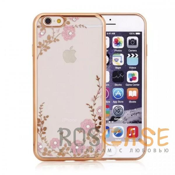 Прозрачный чехол со стразами для Apple iPhone 7 / 8 (4.7) с глянцевым бампером (Золотой/Розовые цветы)Описание:совместим с Apple iPhone 7 / 8 (4.7);материал - термополиуретан;тип - накладка.&amp;nbsp;Особенности:прозрачный;изящный рисунок;украшен стразами;защищает от царапин и ударов;не скользит в руках.<br><br>Тип: Чехол<br>Бренд: Epik<br>Материал: TPU