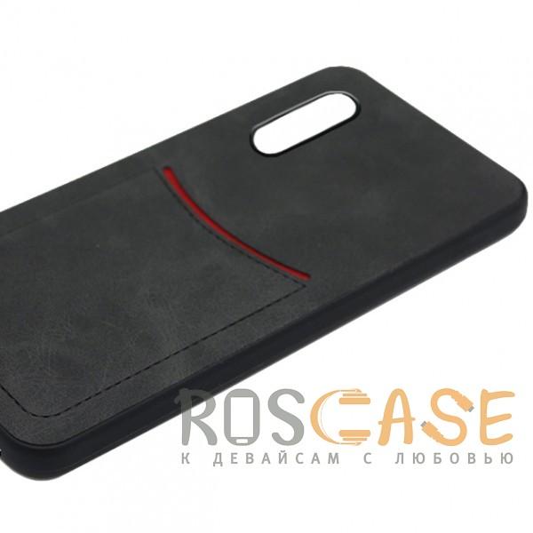 Фото Черный ILEVEL | Чехол с кожаным покрытием и с карманом-визитницей для Huawei P20