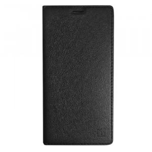 Гладкий кожаный чехол книжка с функцией Sleep mode и логотипом для OnePlus 3 / OnePlus 3T