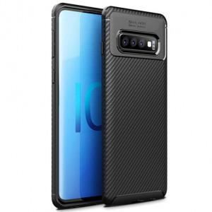 Силиконовый матовый чехол с текстурой Карбон для Samsung Galaxy S10 Plus