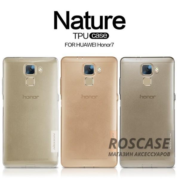 TPU чехол Nillkin Nature Series для Huawei Honor 7Описание:производитель  -  бренд&amp;nbsp;Nillkin;совместим с Huawei Honor 7;материал  -  термополиуретан;тип  -  накладка.&amp;nbsp;Особенности:в наличии все вырезы;не скользит в руках;тонкий дизайн;защита от ударов и царапин;прозрачный.<br><br>Тип: Чехол<br>Бренд: Nillkin<br>Материал: TPU