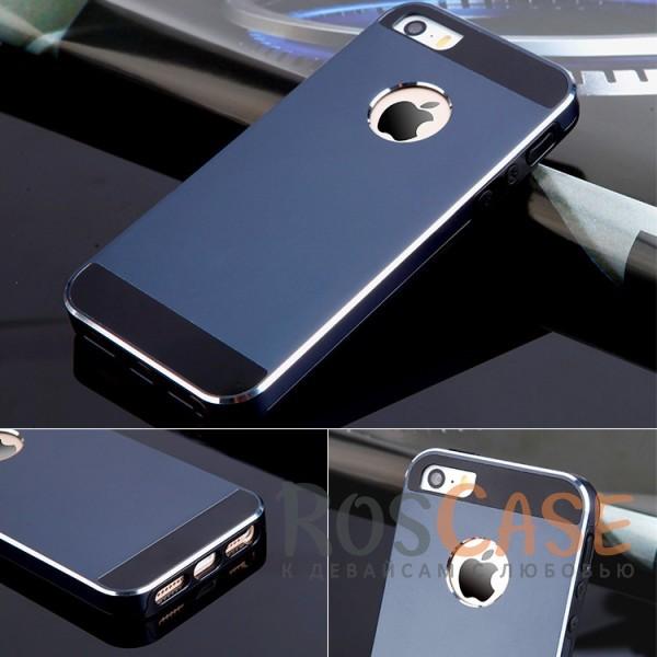 Ультратонкий TPU чехол c металлическими вставками YED для Apple iPhone 5/5S/SE (Синий)<br><br>Тип: Чехол<br>Бренд: Epik<br>Материал: TPU