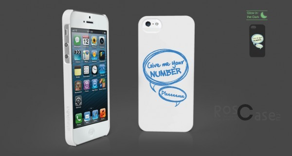 Светящаяся накладка SleekOn (Give me your number) для Apple iPhone 5 (Pick-up line)