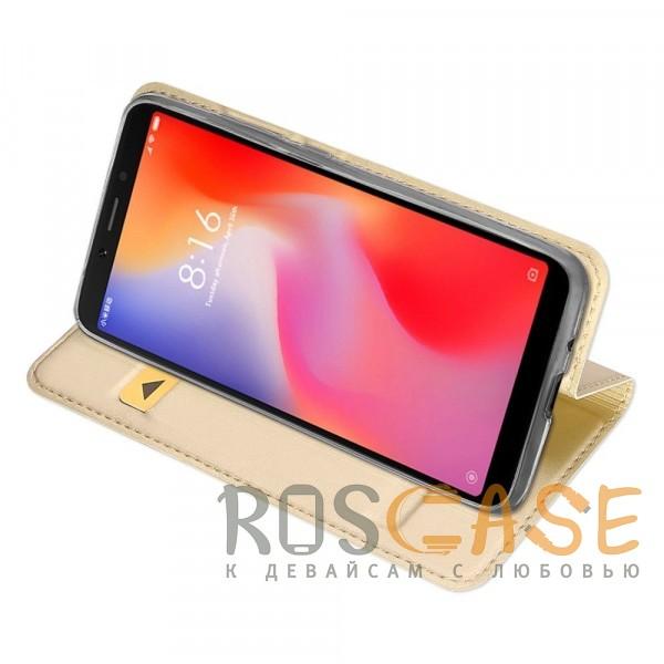 Фотография Золотой Dux Ducis | Чехол-книжка для Xiaomi Redmi 6A с функцией подставки и картхолдером