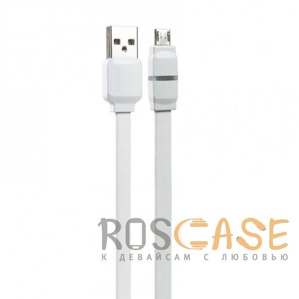 Фото Белый Remax RC-029 | Плоский дата кабель с разъемом MicroUSB (100 см)