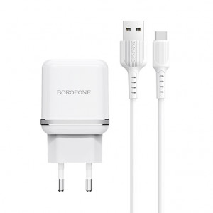 СЗУ Borofone BA25A (2USB / 2.4A) + кабель type-C 1м для Apple iPhone XS Max