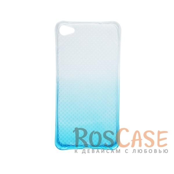 Фото Голубой Гибкий чехол для Meizu U20 из прозрачного силикона с градиентным цветным напылением