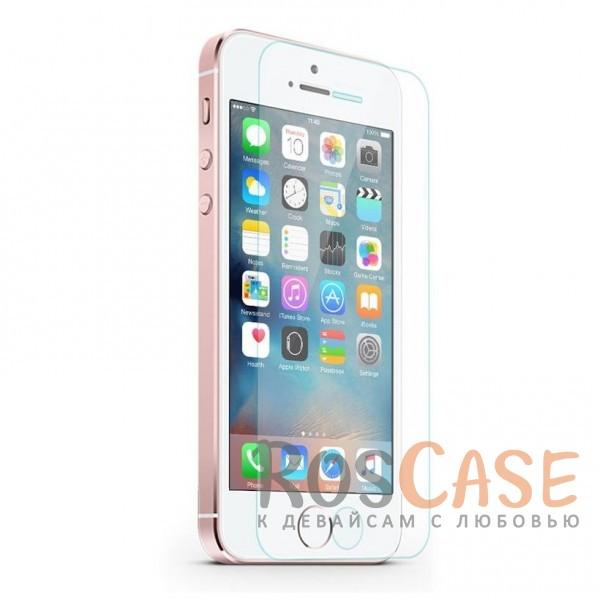 Фото Прозрачное защитное стекло с закругленными краями и олеофобным покрытием для Apple iPhone 5/5S/SE