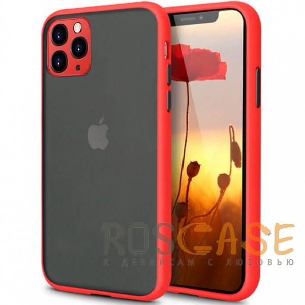 Фото Красный Противоударный матовый полупрозрачный чехол для iPhone 11 Pro с защитой камеры