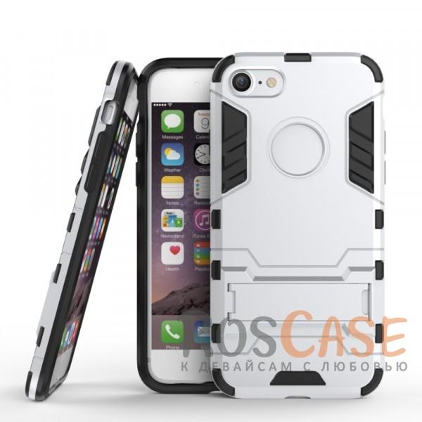 Ударопрочный чехол-подставка Transformer для Apple iPhone 7 (4.7) с мощной защитой корпуса (Серебряный / Satin Silver)Описание:подходит для Apple iPhone 7 (4.7);материалы: термополиуретан, поликарбонат;формат: накладка.&amp;nbsp;Особенности:функциональные вырезы;функция подставки;двойная степень защиты;защита от механических повреждений;не скользит в руках.<br><br>Тип: Чехол<br>Бренд: Epik<br>Материал: TPU
