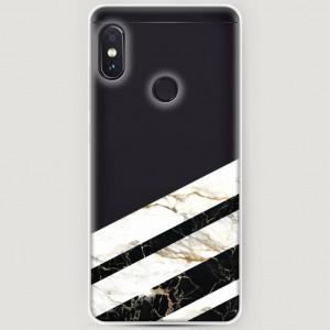 RosCase | Силиконовый чехол Черно-белый мрамор половинка на Xiaomi Redmi Note 5 Pro / Note 5 (AI Dual Camera)