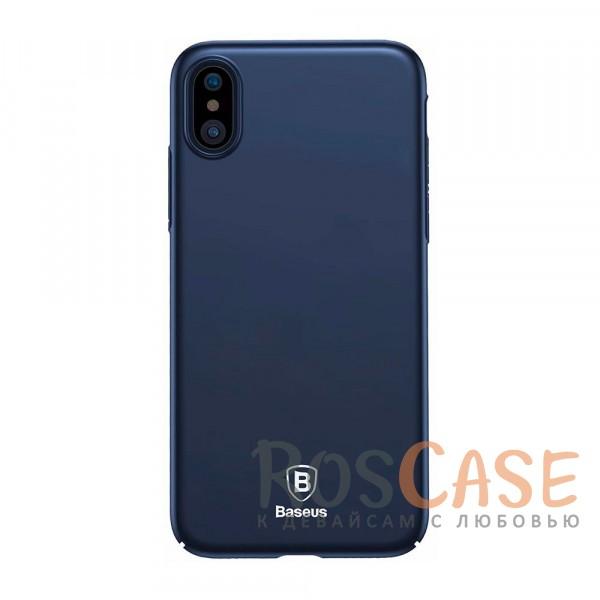 Стильный пластиковый ультратонкий чехол Baseus Thin с защитой камеры для Apple iPhone X (5.8) (Синий)Описание:компания - Baseus;материал - пластик;совместимость -&amp;nbsp;Apple iPhone X (5.8);защитные бортики вокруг камеры;на чехле не заметны отпечатки пальцев;предусмотрены все необходимые вырезы;защищает заднюю панель и грани;формат - накладка;дублирующие защитные кнопки;тонкий дизайн.<br><br>Тип: Чехол<br>Бренд: Baseus<br>Материал: Пластик