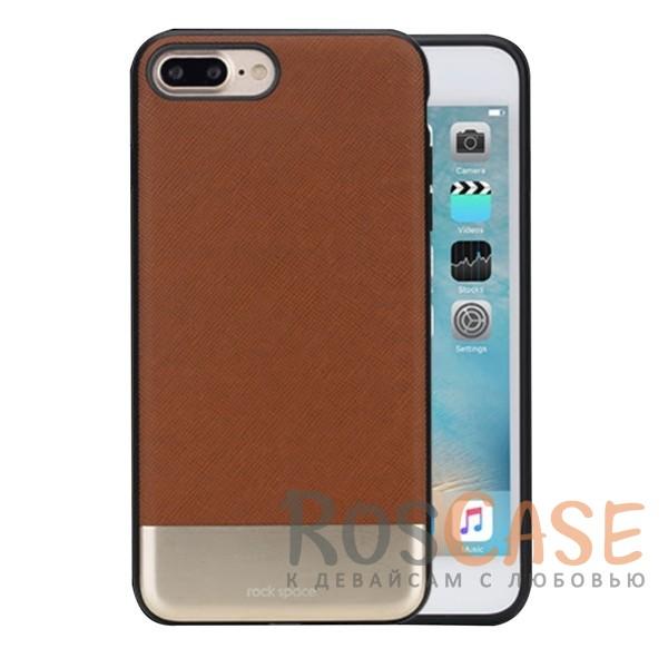 Кожаная накладка с металлической вставкой ROCK Elite Series для Apple iPhone 7 plus (5.5) (Коричневый / Brown)Описание:производитель  - &amp;nbsp;Rock;разработан для Apple iPhone 7 plus (5.5);материал  -  искусственная кожа, металл, поликарбонат;тип  -  накладка.&amp;nbsp;Особенности:металлическая вставка;в наличии все функциональные вырезы;не скользит в руках;амортизирует удары;защищает от механических повреждений.<br><br>Тип: Чехол<br>Бренд: ROCK<br>Материал: Искусственная кожа