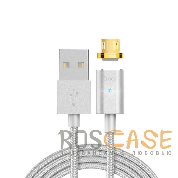 Фото Hoco U16 | Магнитный дата кабель USB to microUSB (1.2m) в тканевой оплётке