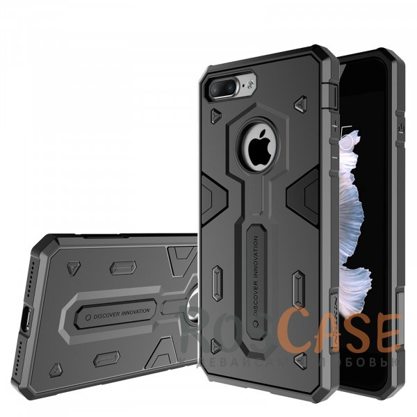 Ударопрочный двухслойный пластиковый чехол для Apple iPhone 7 plus / 8 plus (5.5) (Черный)Описание:производитель  - &amp;nbsp;Nillkin;совместим с Apple iPhone 7 plus / 8 plus (5.5);материал  -  термополиуретан, поликарбонат;тип  -  накладка.&amp;nbsp;Особенности:в наличии все вырезы;противоударный;стильный дизайн;надежно фиксируется;защита от повреждений.<br><br>Тип: Чехол<br>Бренд: Nillkin<br>Материал: TPU