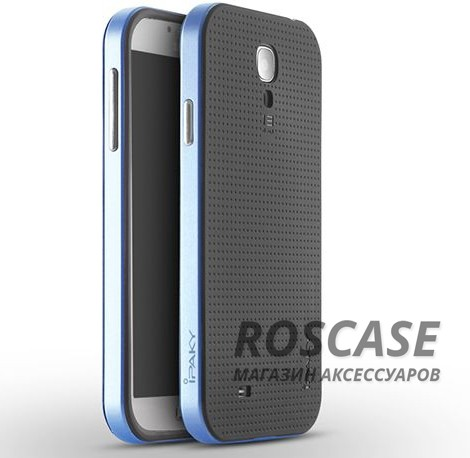 Двухкомпонентный чехол iPaky (original) Hybrid со вставкой цвета металлик для Samsung i9500 Galaxy S4 (Черный / Синий)Описание:компания-разработчик: iPaky;совместимость с устройством модели: Samsung i9500 Galaxy S4;материал изделия: термопластический полиуретан, поликарбонат;конфигурация: накладка-бампер.Особенности:стильный дизайн;высокий класс прочности и износоустойчивости;матовая поверхность;легко и надежно фиксируется на смартфоне;имеет все необходимые функциональные вырезы.<br><br>Тип: Чехол<br>Бренд: iPaky<br>Материал: TPU