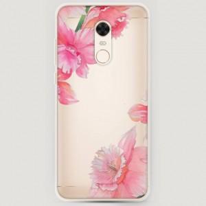 RosCase | Силиконовый чехол Розовые цветочные уголки на Xiaomi Redmi 5 Plus / Redmi Note 5 (Single Camera)