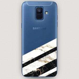 RosCase | Силиконовый чехол Черно-белый мрамор половинка на Samsung Galaxy A6 (2018)