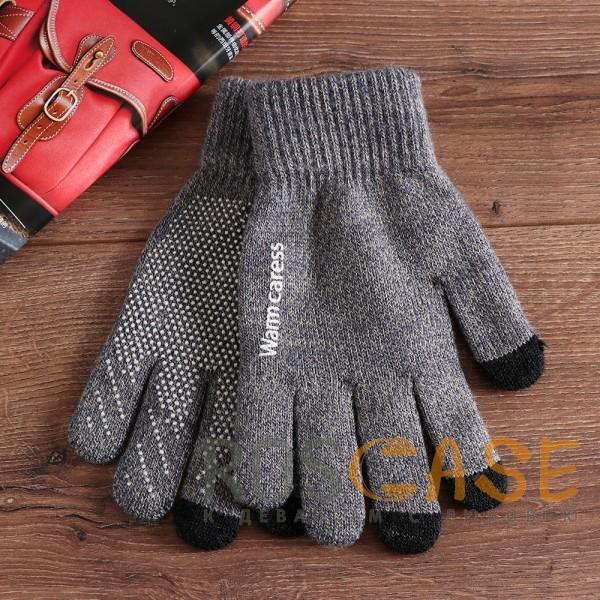 Фотография Темно-серый Warm caress | Емкостные перчатки утепленные (нескользящие)