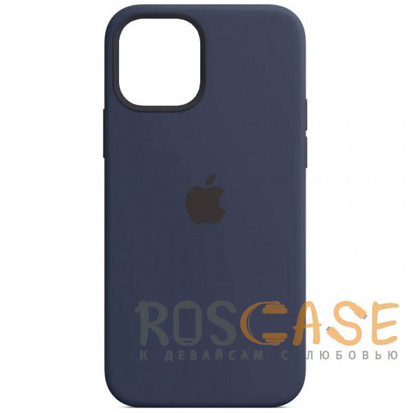 Фото Темно синий Силиконовый чехол Silicone Case с микрофиброй для iPhone 12 Pro Max