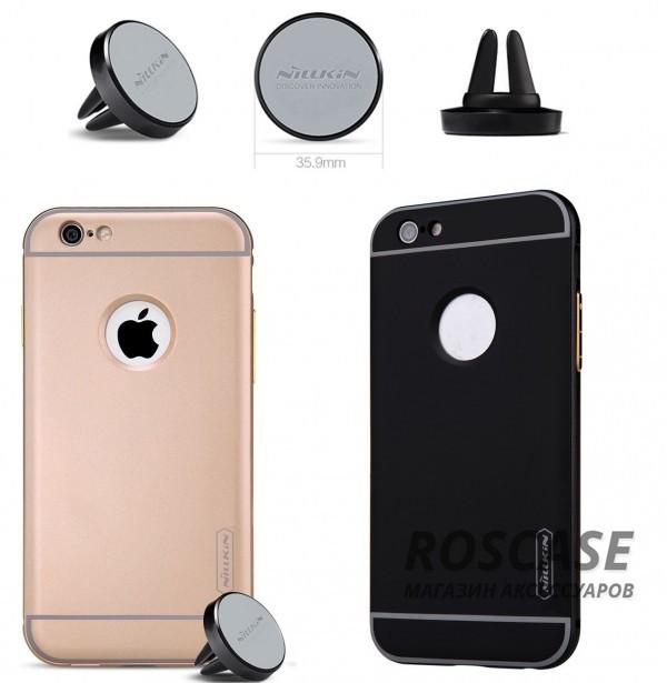 Металлическая накладка + Автодержатель Nillkin для Apple iPhone 6/6s plus (5.5)Описание:производитель  - &amp;nbsp;Nillkin;совместим с Apple iPhone 6/6s plus (5.5);материал  -  металл;тип  -  накладка.&amp;nbsp;Особенности:прочная;в комплекте автомобильный держатель;олеофобное покрытие;окошко для логотипа;защищает от механических повреждений;функция подставки.<br><br>Тип: Чехол<br>Бренд: Nillkin<br>Материал: Металл