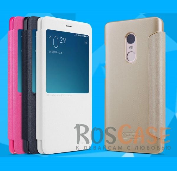 Кожаный чехол (книжка) Nillkin Sparkle Series для Xiaomi Redmi Note 4Описание:бренд&amp;nbsp;Nillkin;изготовлен для Xiaomi Redmi Note 4;материал: искусственная кожа, поликарбонат;тип: чехол-книжка.Особенности:не скользит в руках;защита от механических повреждений;функция Sleep mode;интерактивное окошко;не выгорает;блестящая поверхность;надежная фиксация.<br><br>Тип: Чехол<br>Бренд: Nillkin<br>Материал: Искусственная кожа