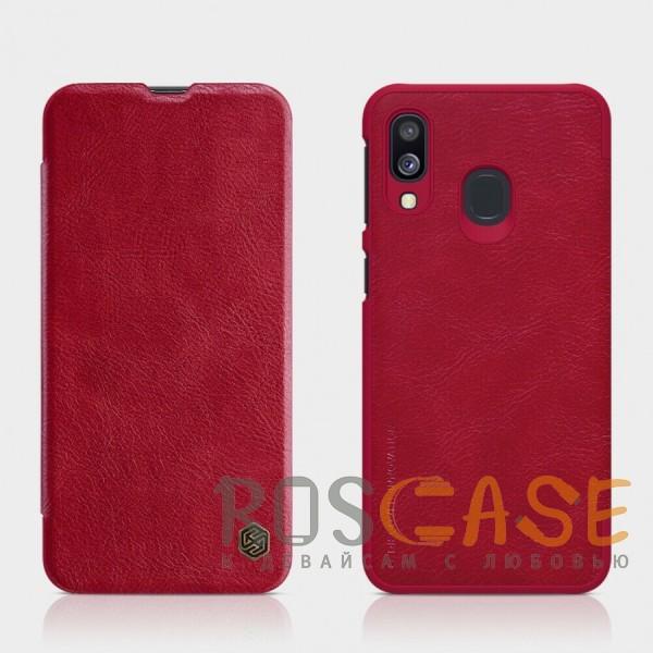 Фото Красный Nillkin Qin натур. кожа   Чехол-книжка для Samsung A405F Galaxy A40