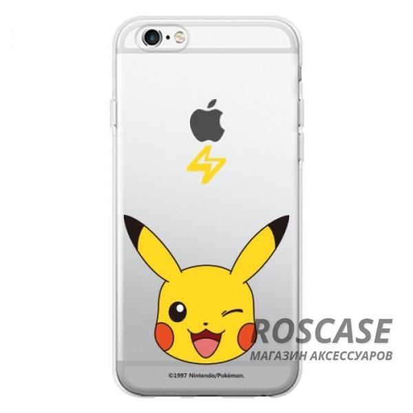 Прозрачный силиконовый чехол Pokemon Go для Apple iPhone 6/6s (4.7) (Pikachu / face)Описание:бренд:&amp;nbsp;Epik;совместимость: Apple iPhone 6/6s (4.7);материал: силикон;тип: накладка.&amp;nbsp;Особенности:принт с покемонами;не скользит в руках;эластичный и гибкий;плотно прилегает;в наличии все функциональные вырезы.<br><br>Тип: Чехол<br>Бренд: Epik<br>Материал: TPU
