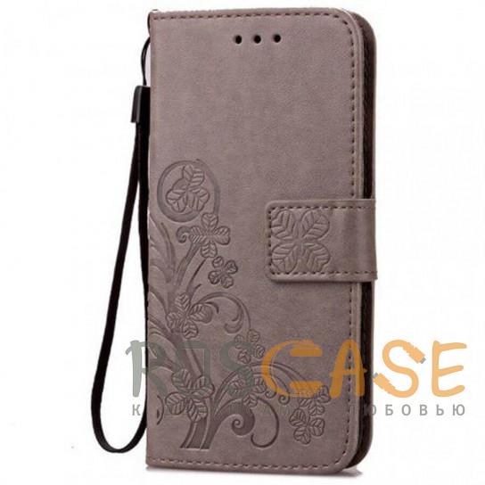 Фото Серый Кожаный чехол (книжка) Four-leaf Clover с визитницей для Samsung Galaxy A70 (A705F)