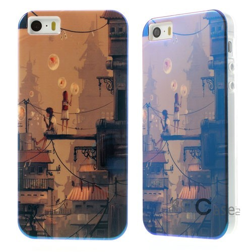 "TPU чехол IMD Print ""Boy & Girl Blowing Bubbles"" для Apple iPhone 5/5S/SE"
