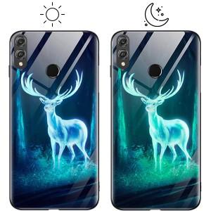 Светящийся в темноте чехол для Huawei Honor 8X со стеклянным покрытием и принтом