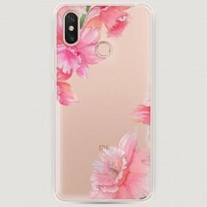 RosCase | Силиконовый чехол Розовые цветочные уголки на Xiaomi Mi Max 3