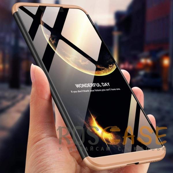 Фото Черный / Золотой GKK LikGus 360° | Двухсторонний чехол для Huawei Honor 8C с защитными вставками