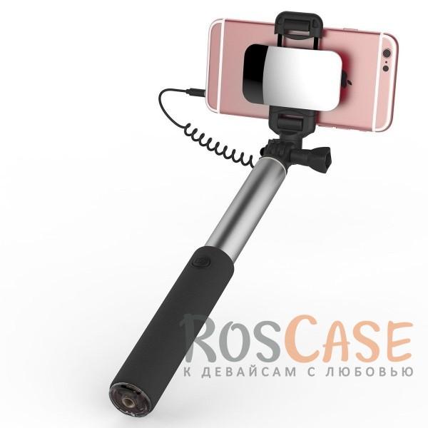 Телескопический монопод ROCK для селфи (кабель Lightning) + зеркало (Tarnish)Описание:производитель:&amp;nbsp;Rock;тип аксессуара: телескопический монопод;материал: алюминий и поликарбонат;совместимость: гаджеты с разъемом Lightning.Особенности:тип подключения: разъем Lightning;размер  -  24,5  -  90 см;не нужна батарейка;зеркало;выдвижная конструкция;вращающийся держатель;позволяет делать фотографии себя и своих друзей без посторонней помощи.<br><br>Тип: Моноподы<br>Бренд: ROCK
