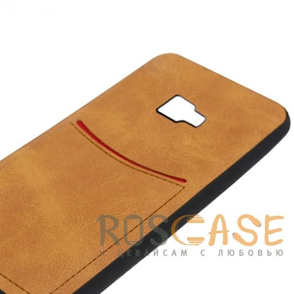 Фото Светло-коричневый ILEVEL | Чехол с кожаным покрытием и с карманом-визитницей для Samsung J410F Galaxy J4 Core (2018)