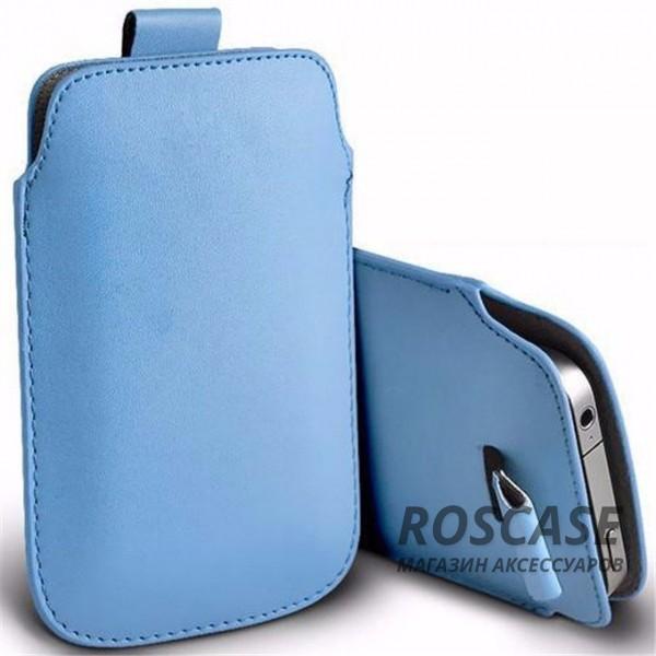 Кожаный чехол футляр с язычком для телефона 3.5-4.8 дюйма (Бирюзовый)