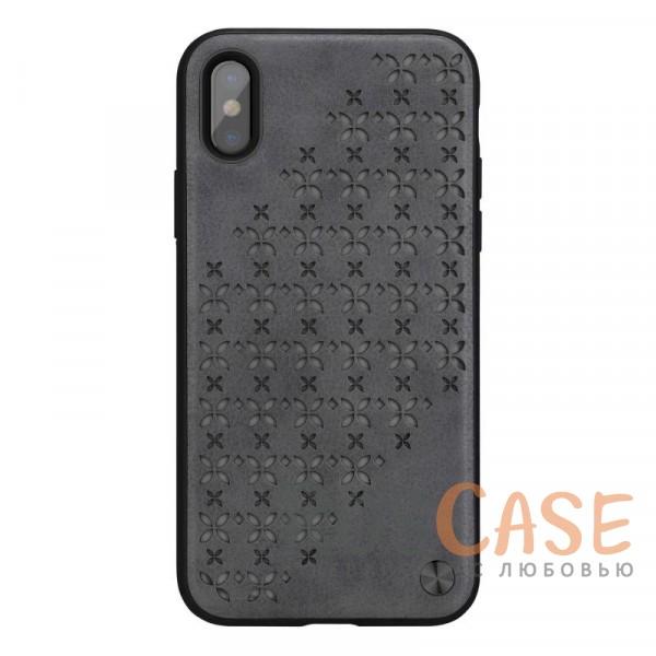 Необычный пластиковый чехол с кожаным покрытием и перфорированными светящимся звездами для Apple iPhone X (5.8) (Серый)Описание:бренд&amp;nbsp;Nillkin;совместимость: Apple iPhone X (5.8);материалы: поликарбонат, термополиуретан, искусственная кожа;тип: накладка;закрывает заднюю панель и боковые грани;защищает от ударов и царапин;рельефная фактура&amp;nbsp;с перфорированными светящимся звездами;не скользит в руках;ультратонкий дизайн;защита камеры;дублирующие кнопки;все необходимые вырезы.<br><br>Тип: Чехол<br>Бренд: Nillkin<br>Материал: Пластик