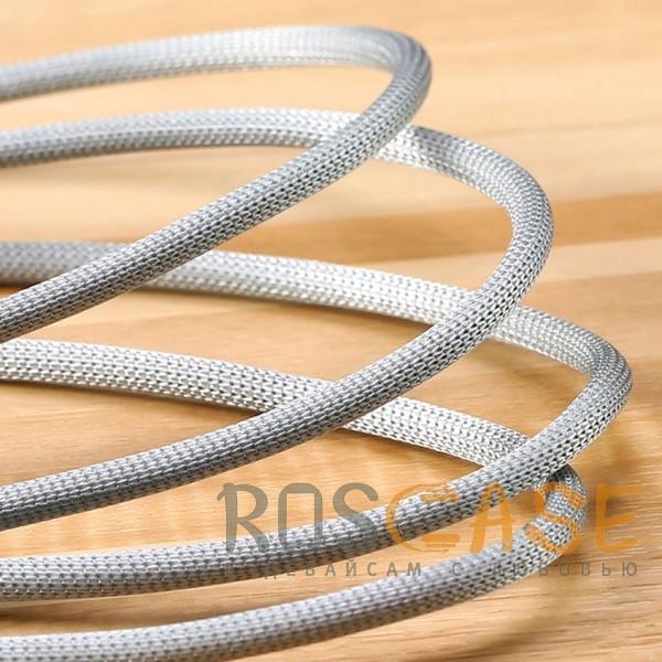 Изображение Серебряный Remax Dominator RC-064i | Дата кабель с функцией быстрой зарядки в тканевой оплетке USB to Lightning (100см)