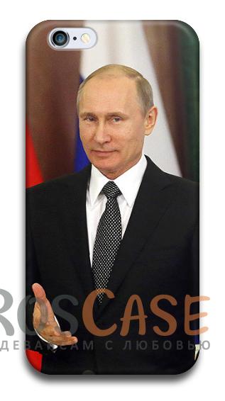 """Фото В думе Пластиковый чехол RosCase """"Путин"""" для iPhone 4/4S"""