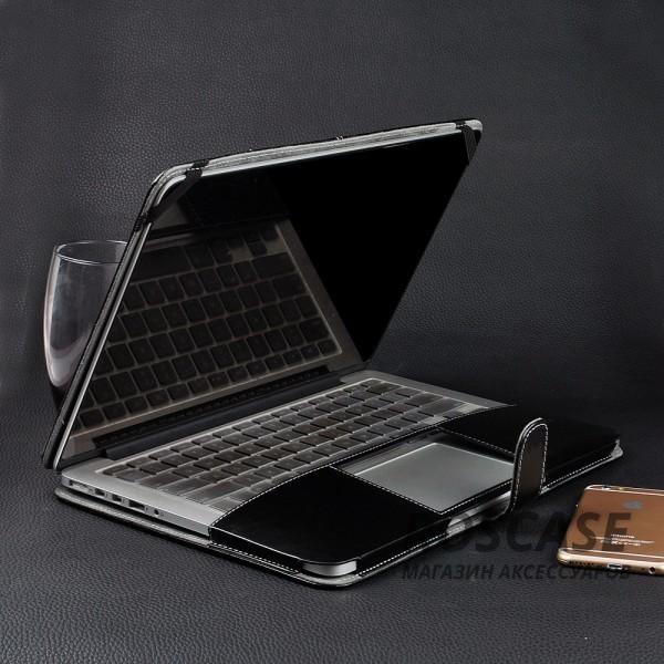 Изображение Черный Кожаный чехол-книжка TTX для Apple MacBook 12