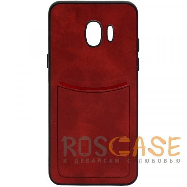Фото Красный ILEVEL | Чехол с кожаным покрытием и с карманом-визитницей для Samsung Galaxy J2 Core (2018)