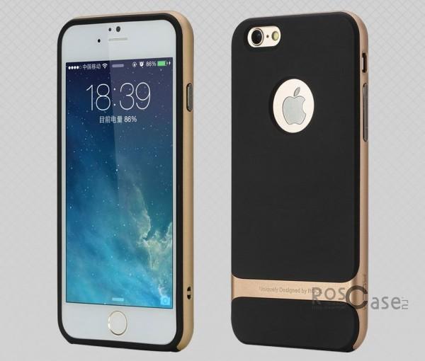 TPU+PC чехол Rock Royce Series для Apple iPhone 6/6s (4.7) (Черный / Золотой)Описание:фирма-производитель  -  Rock;совместимость - Apple iPhone 6/6s (4.7);материалы  -  полиуретан, поликарбонат;тип  -  накладка.&amp;nbsp;Особенности:пластичный;имеет все необходимые вырезы;легко чистится;не увеличивает габариты;защищает от ударов и падений;износостойкий.<br><br>Тип: Чехол<br>Бренд: ROCK<br>Материал: TPU
