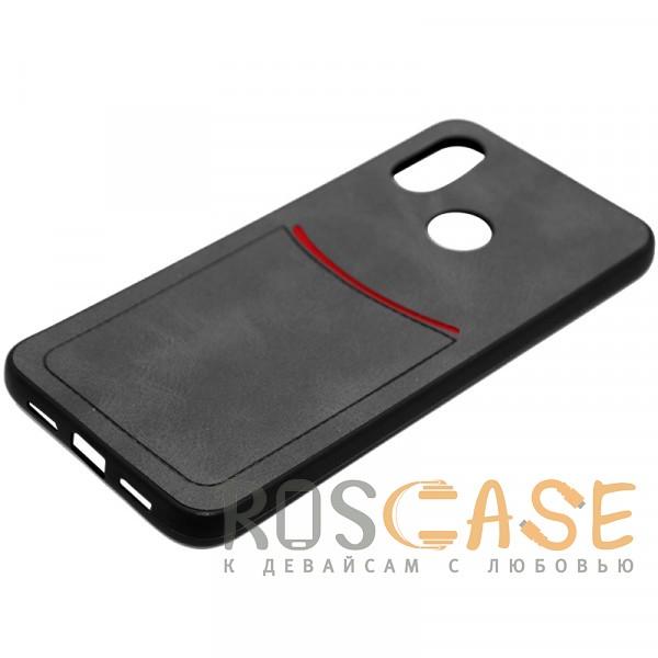 Фото Черный ILEVEL | Чехол с кожаным покрытием и с карманом-визитницей для Xiaomi Mi 8