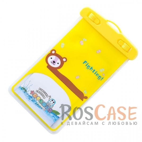 Водонепроницаемый чехол Cute Animals до 5,5 (Медведь)Описание:чехол подходит для устройств с диагональю не более 5,5 дюймов;материал - пластик (поливинилхлорид);надежно защищает гаджет от влаги;одна сторона чехла прозрачная;вторая сторона - с рисунком;можно использовать телефон даже в чехле;в комплекте идет удобный шнурок;размеры чехла - 10*16 см.&amp;nbsp;<br><br>Тип: Чехол<br>Бренд: Epik<br>Материал: Пластик