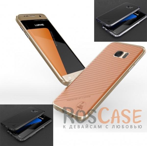 Алюминиевый бампер Luphie Blade Sword для Samsung G935F Galaxy S7 Edge +наклейка из кожи на з.панельОписание:бренд -&amp;nbsp;Luphie;материал - алюминий, искусственная кожа;совместим с Samsung G935F Galaxy S7 Edge;тип - бампер с наклейкой.Особенности:наклейка из кожи на заднюю панель (на клеящейся основе);прочный алюминиевый бампер;в наличии все вырезы;ультратонкий дизайн;чехол можно носить с наклейкой или без.<br><br>Тип: Чехол<br>Бренд: Luphie<br>Материал: Металл