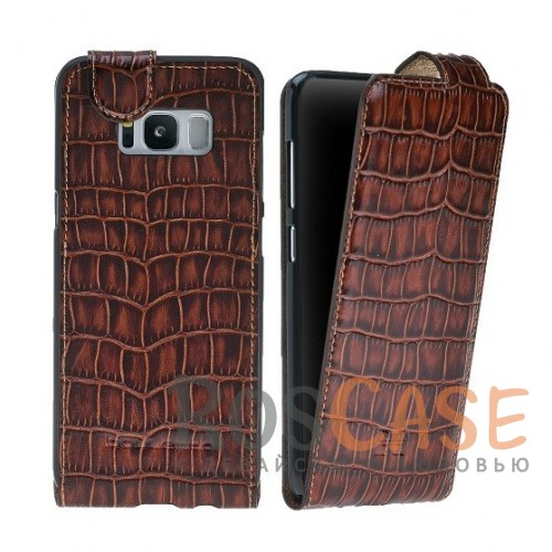 Изображение Вертикальный чехол-флип из натуральной кожи с фактурой крокодиловой кожи с магнитной застежкой для Samsung Galaxy S8 (G950)